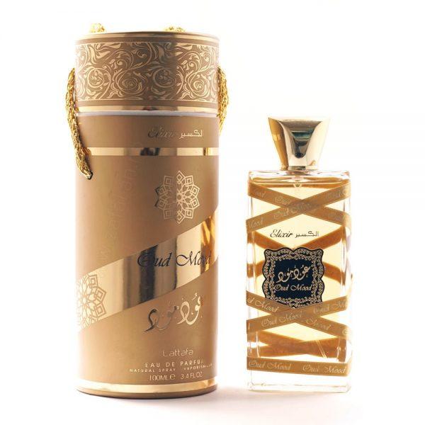 parfum arabesc oud mood elixir sticla plus cutie parfum